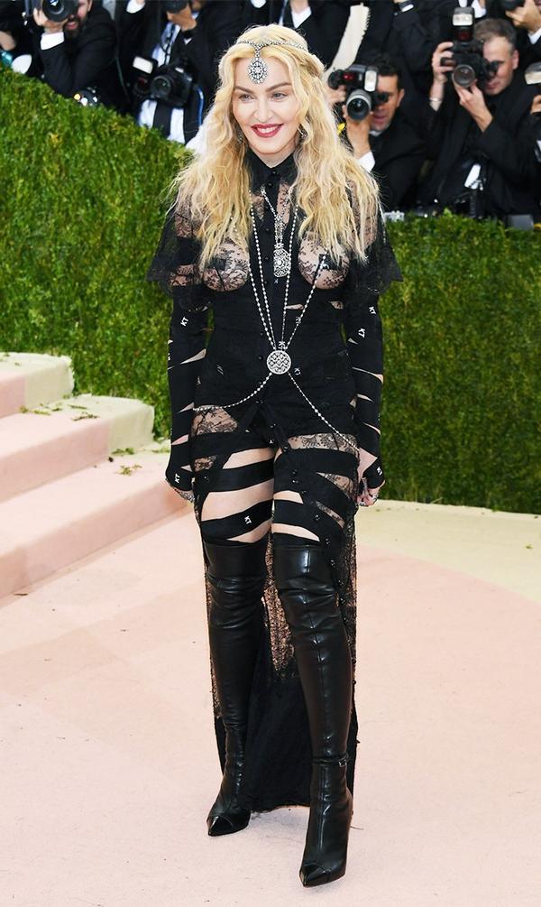 WHO: Madonna WEAR: Givenchy dress.