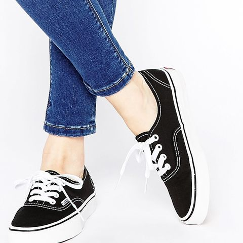 Classic Black and White Lace Up Trainers