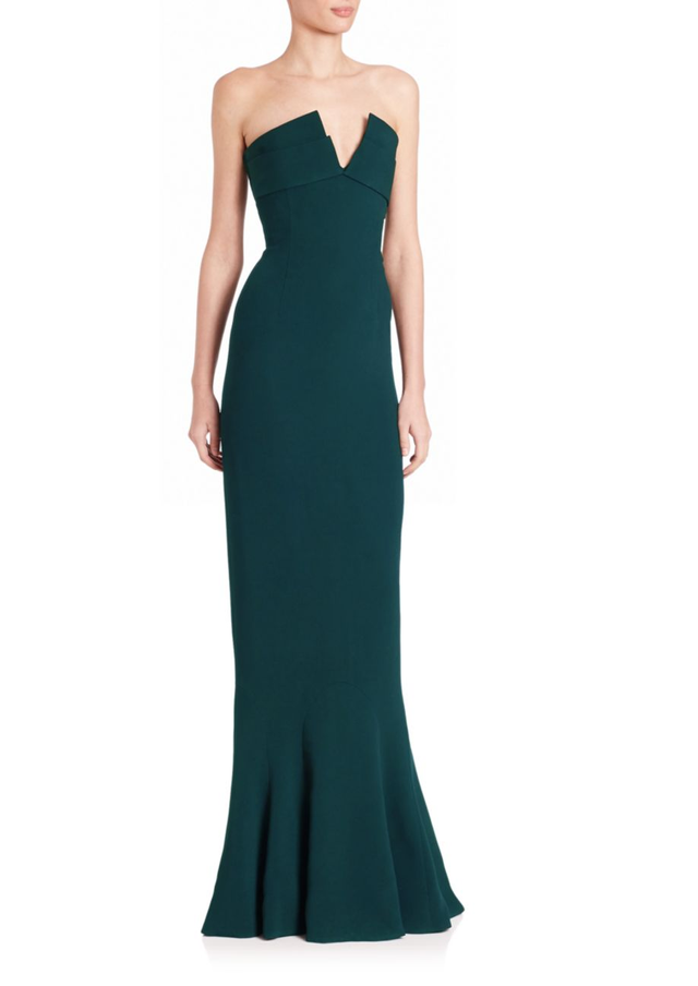 Brandon Maxwell Strapless Crepe Gown
