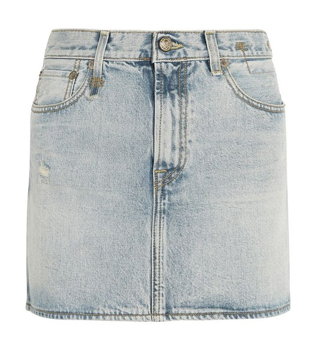 R13 Distressed Denim Mini Skirt