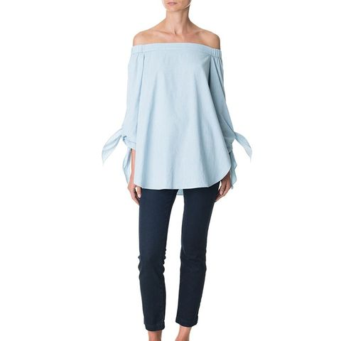 Pale Denim Off-the-Shoulder Tunic