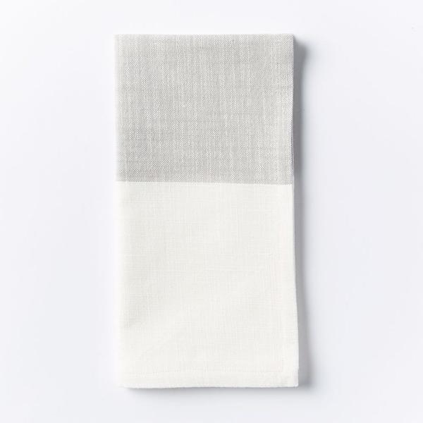 West Elm Centre Stripe Woven Napkin Set in Platinum