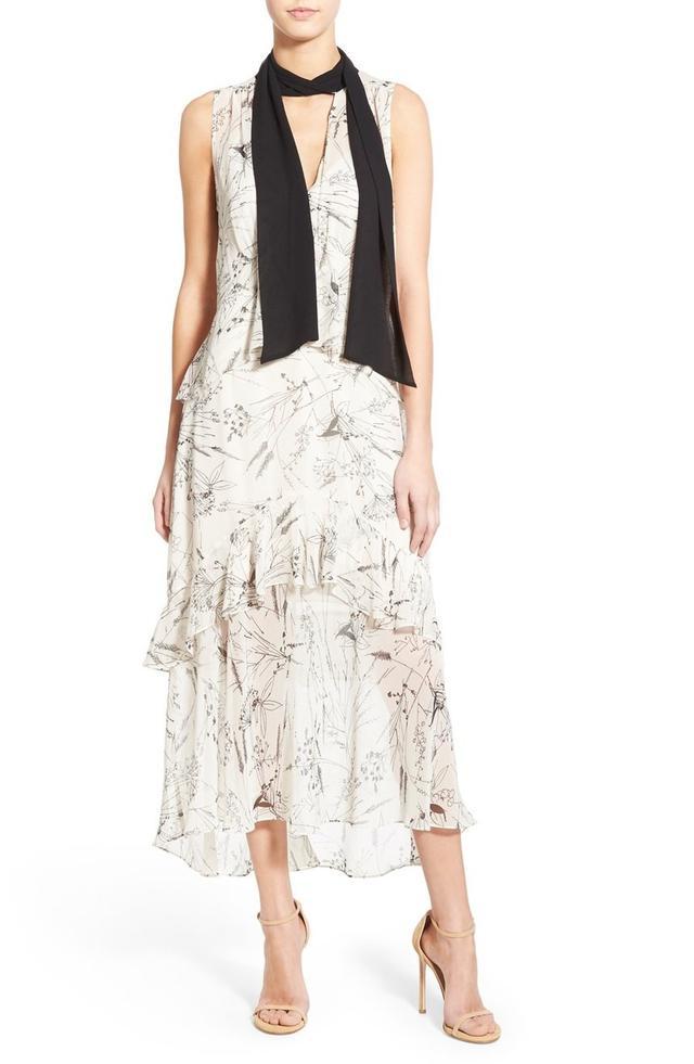 Olivia Palermo + Chelsea28 Tie Neck Sleeveless Midi Dress