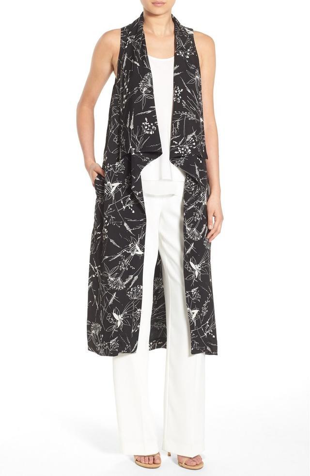 Olivia Palermo + Chelsea28 Floral Print Long Vest