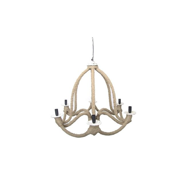 Casa Uno 6 Arm Iron & Jute Chandelier