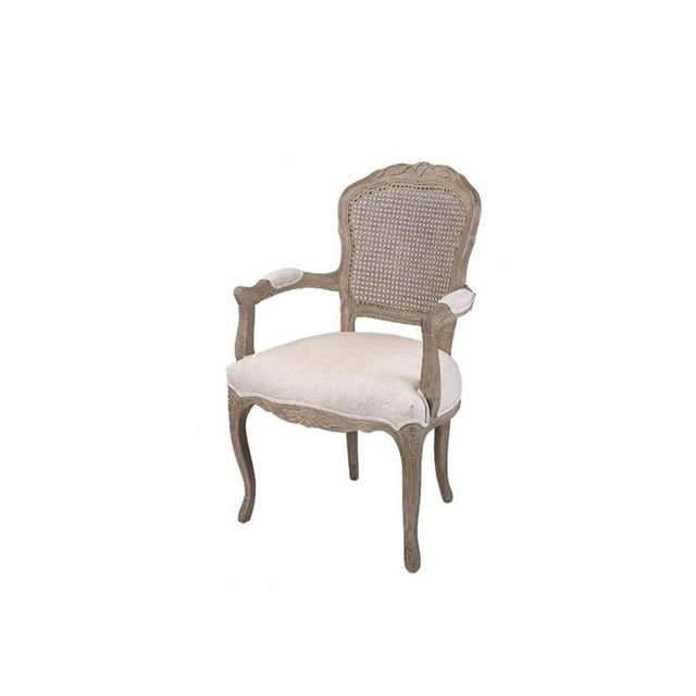 Homeflex French Country Linen Dining Armchair With Rattan Back