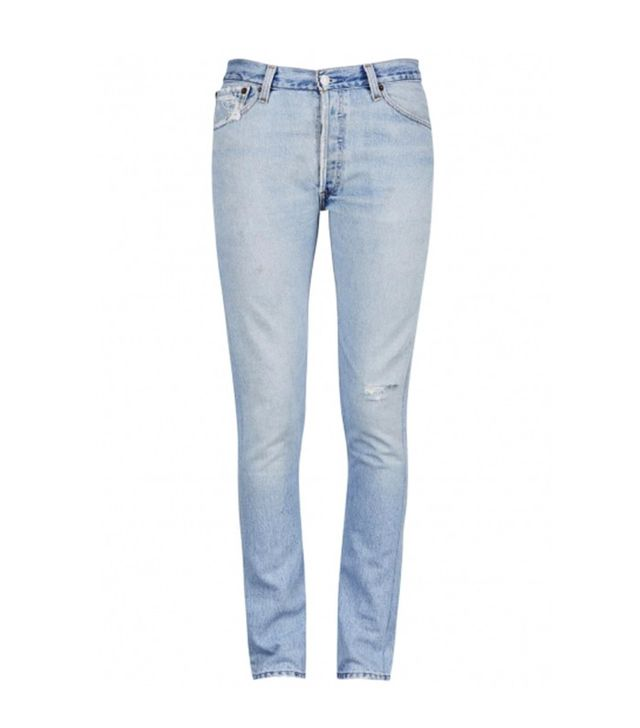 Re/Done The Straight Skinny Distressed Jeans