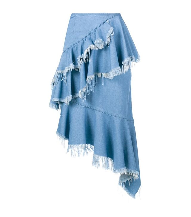 Marques'Almeida Frayed Denim Frill Skirt