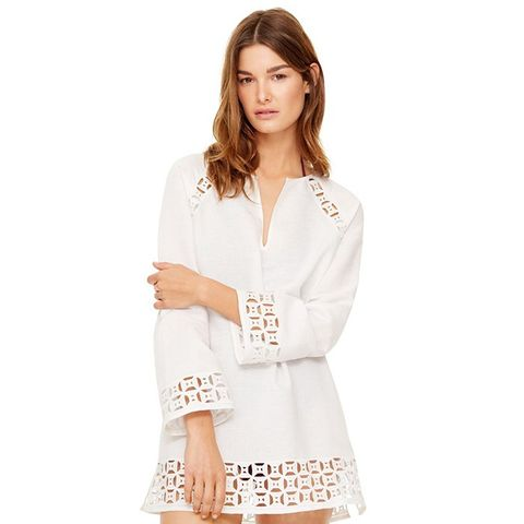 Embroidered Linen Cutout Tunic