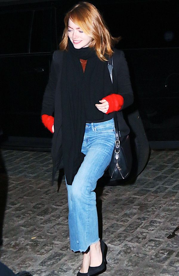Style Notes:Emma Stone chose a pair of raw-edged cropped flares last year for a night on the town and has inspired us ever since to wear these kind of jeans with pointed black courts.