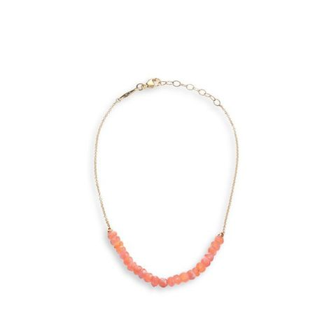 Peach Moonstone Yellow Gold Anklet