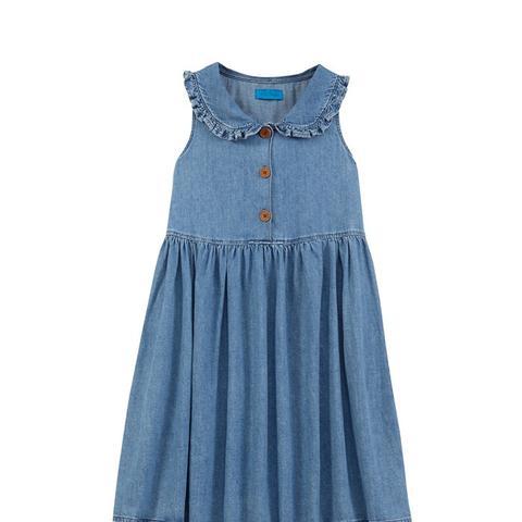 Ruffle-Trimmed Chambray Mini Dress
