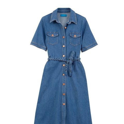 Belted Stretch-Denim Shirt Dress