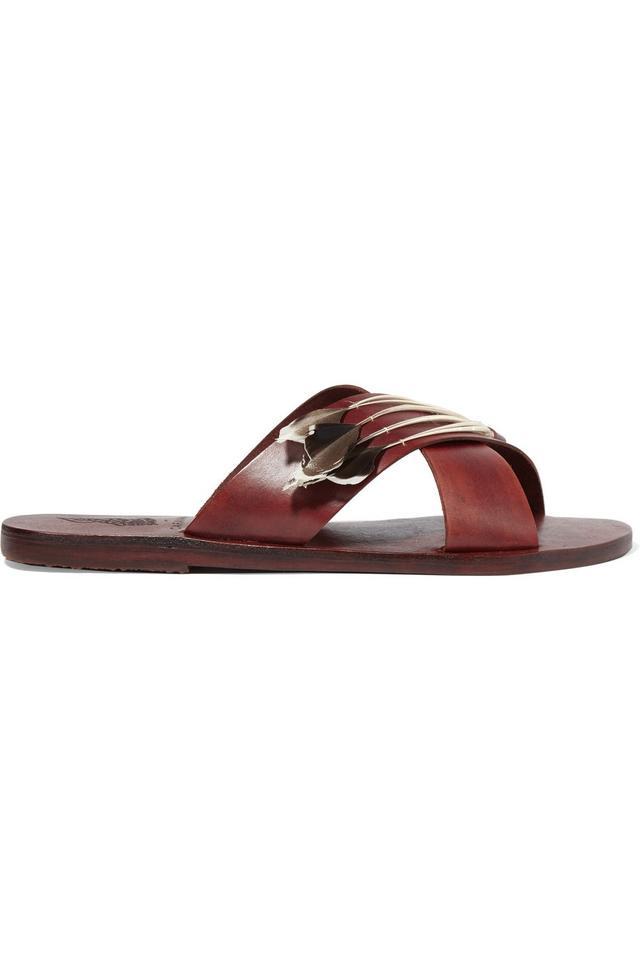 Ancient Greek Sandals + Caravana Thais Tulum Feather-Embellished Leather Sandals