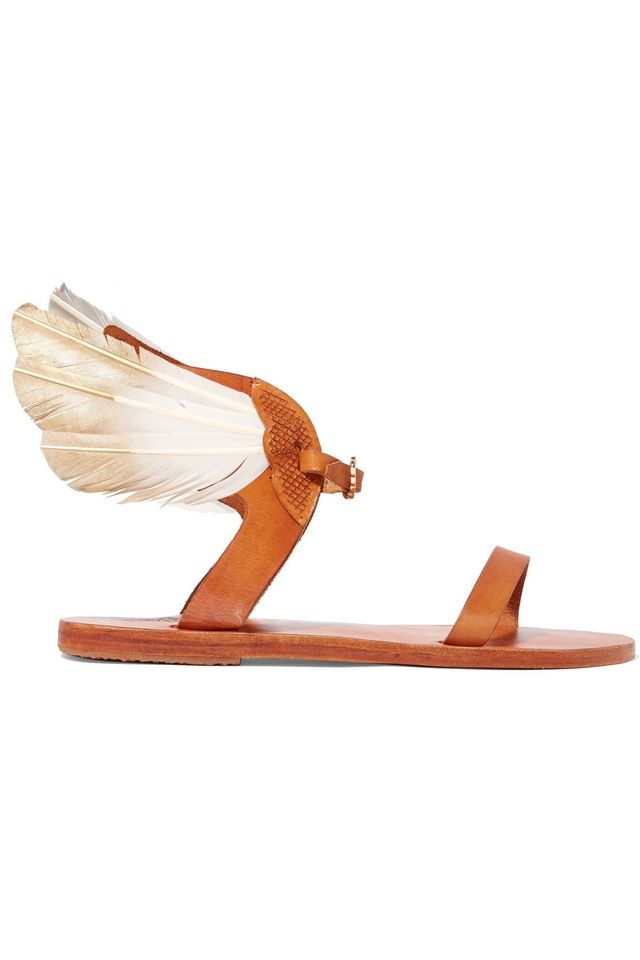 Ancient Greek Sandals + Caravana Ikaria Tulum Feather-Embellished Leather Sandals