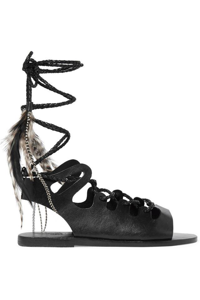Ancient Greek Sandals + Caravana Antigone Tulum Feather-Embellished Leather Sandals