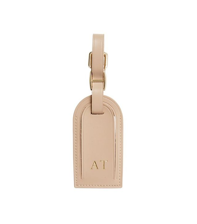 The Daily Edited Taupe Leather Luggage Tag