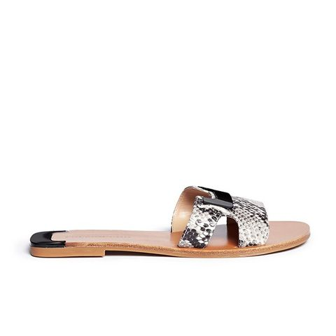 Animal Marrakesh Metal Plate Cutout Snake Effect Slide Sandals