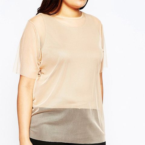 Sheer Mesh T-Shirt With Jersey Top Underlayer