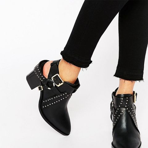 Owen Black Leather Cut Out Western Heeled Ankle Boots