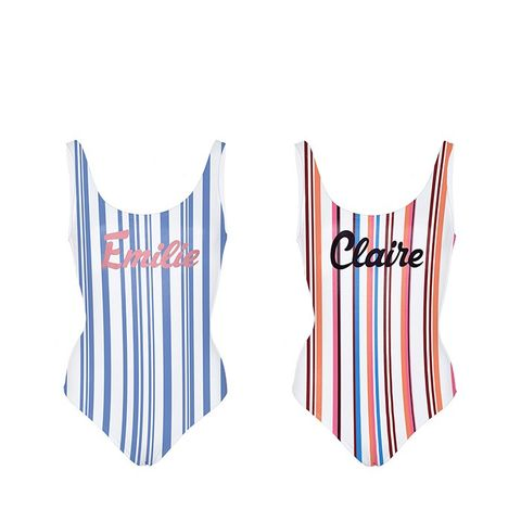 Bay My Name Striped in Blue Bathing Suit