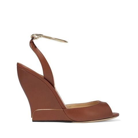 Delphi Metal-Trimmed Leather Wedge Sandal