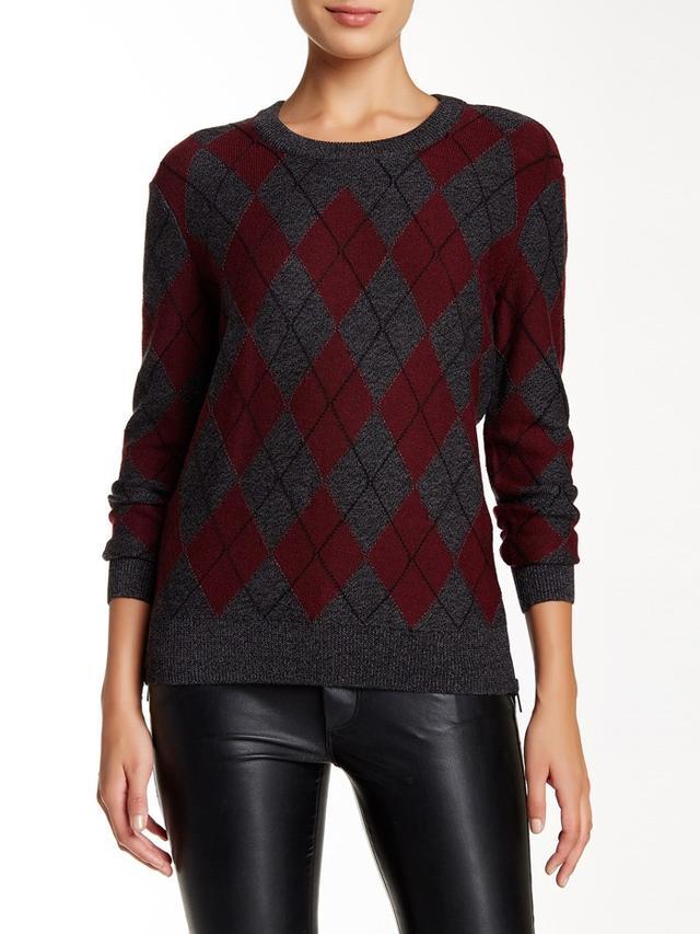 Haute Hippie Merino Wool Argyle Sweater