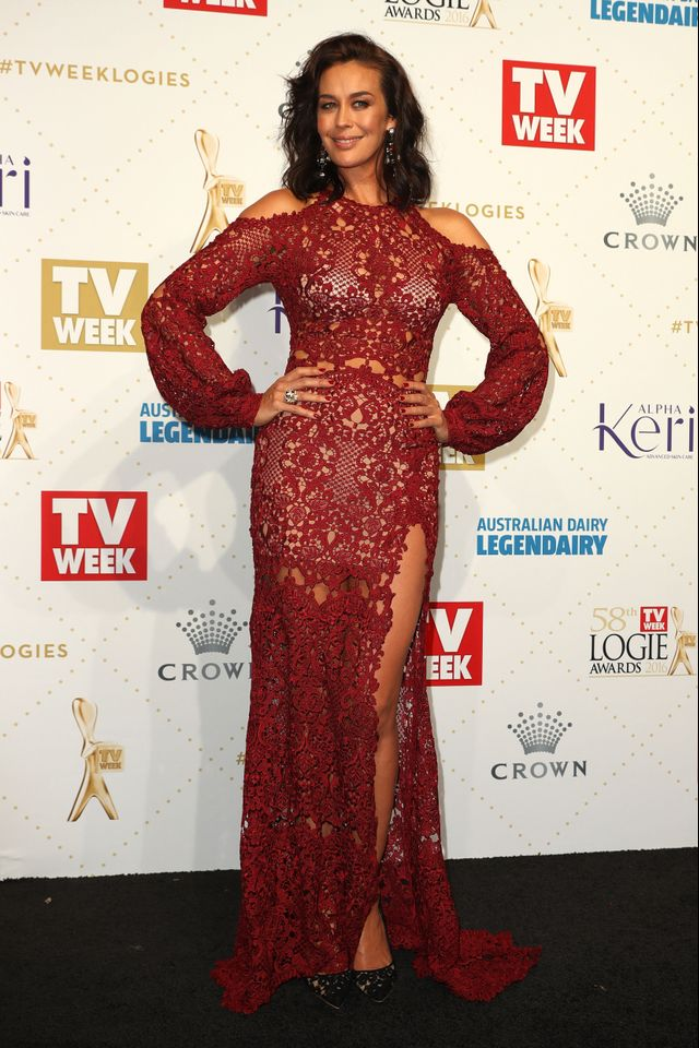 WHO: Megan Gale WEAR: Paolo Sebastian dress.