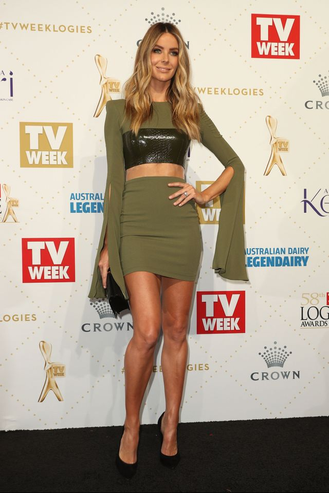 WHO: Jennifer Hawkins WEAR: Alex Perry dress.