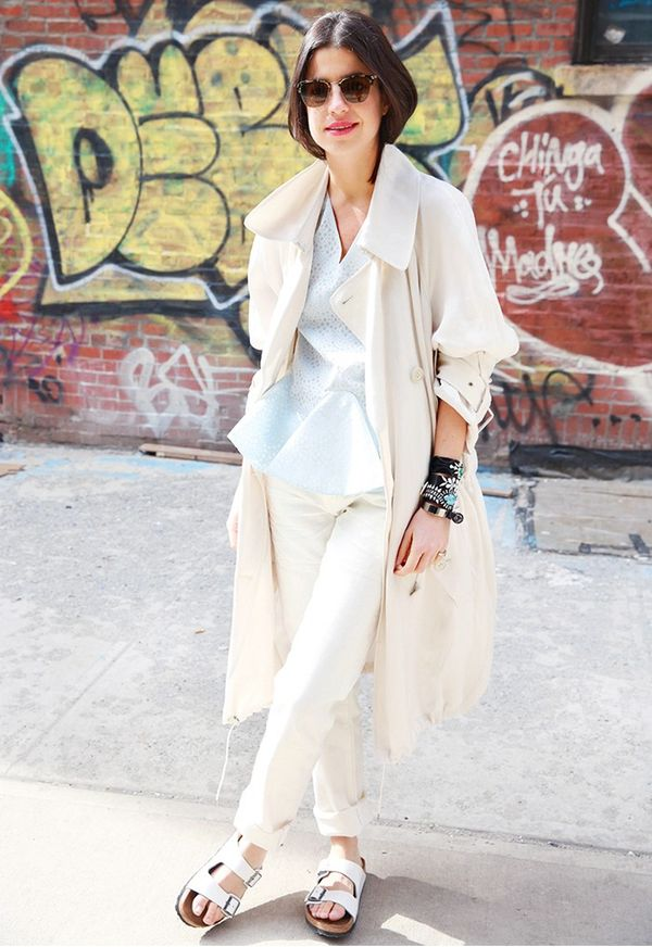 Rolled-Up Jeans + Blouse + Trench + Flat Sandals