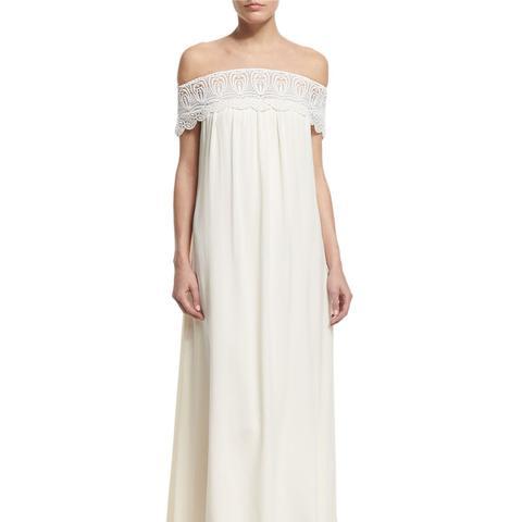 Off-the-Shoulder Chiffon Lace-Trim Gown