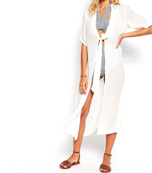 ASOS Waist Tie Maxi Beach Shirt Dress