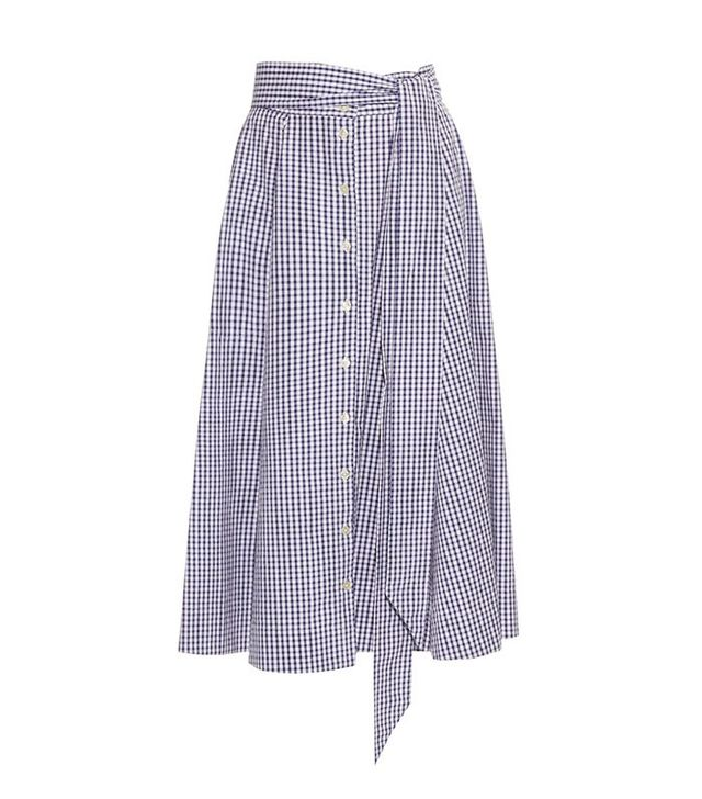 Lisa Marie Fernandez Checked Button-Up A-Line Cotton Skirt
