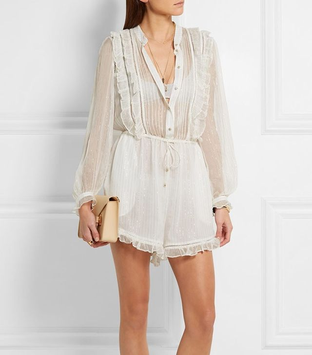 Zimmermann Mischief Metallic Crinkled Silk-Georgette Playsuit
