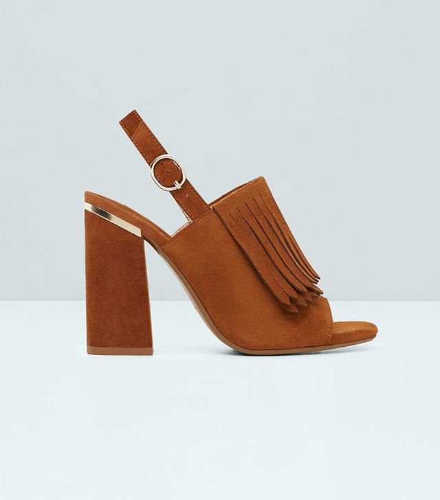 Mango Fringe Leather Sandals