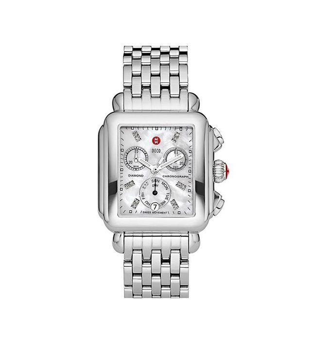 Michele Deco Diamond Dial Watch Case & 18mm Bracelet