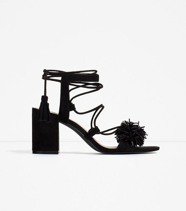 Zara High Heel leather Lace-Up Sandals