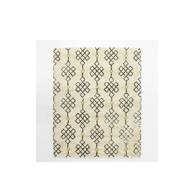West Elm Fes Wool Shag Rug - Ivory / Slate