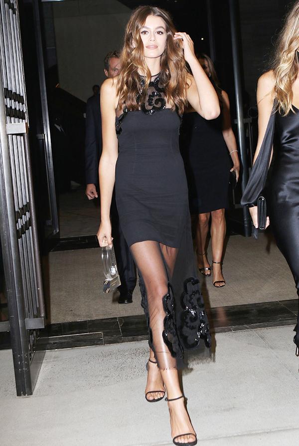 kaia gerber style - black dress
