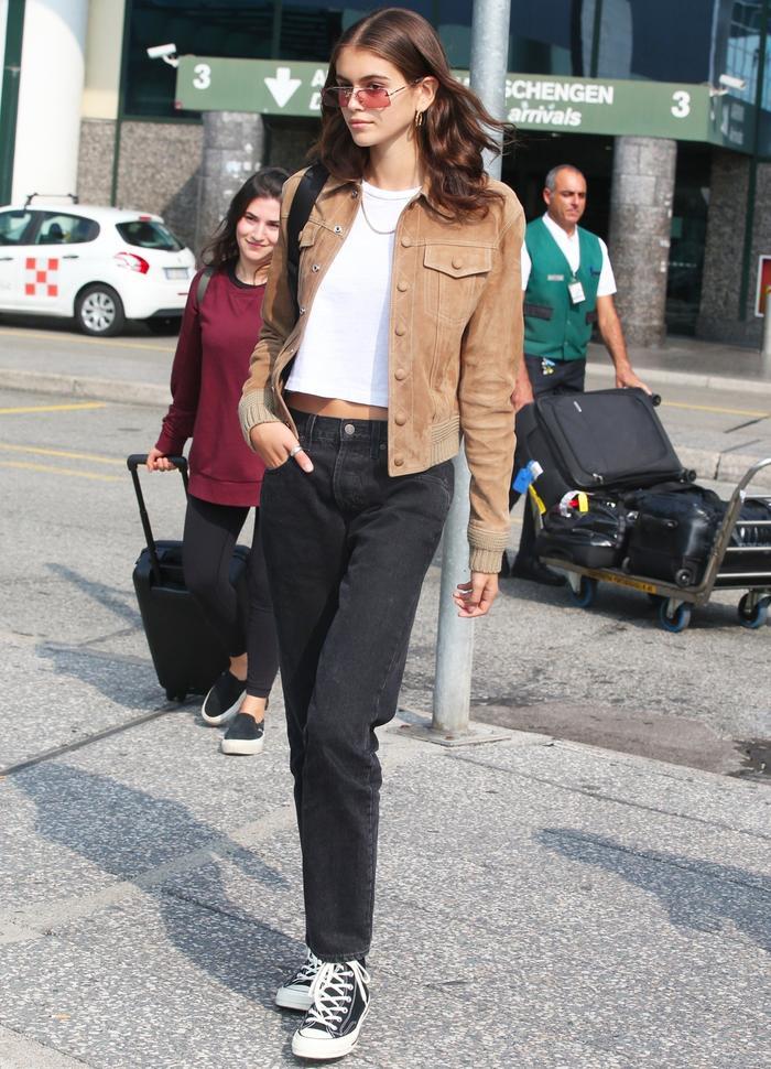 Kaia Gerber Wearing Converse