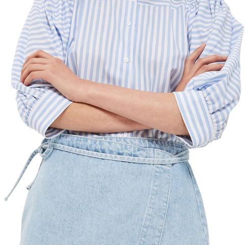 Tie Wrap Denim Skirt