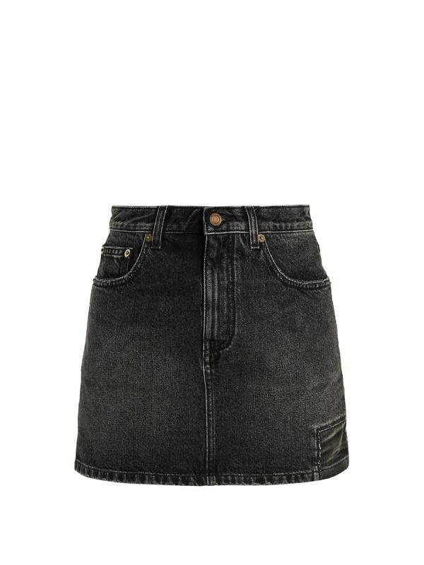Patch-detail denim skirt