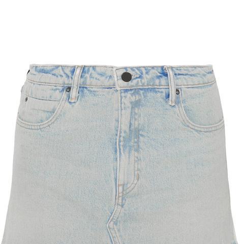 Layered Striped Poplin and Denim Miniskirt