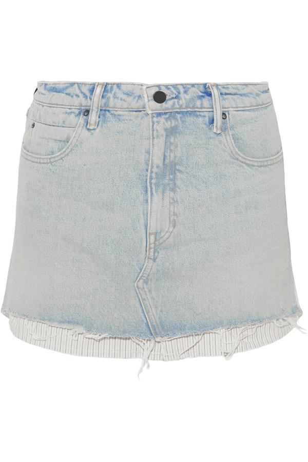 Layered Striped Poplin And Denim Mini Skirt