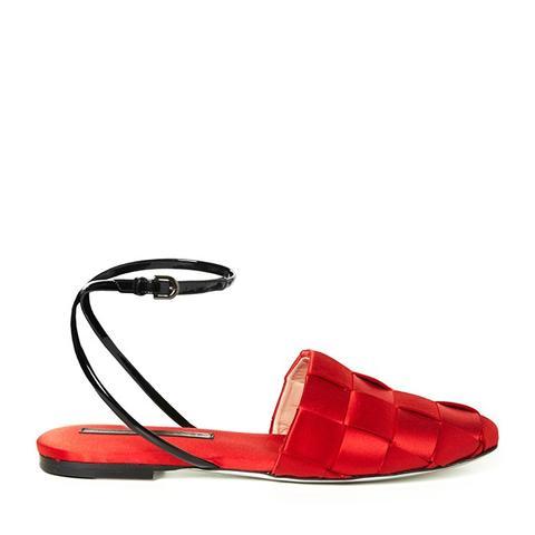 Woven-Satin Flat Sandals