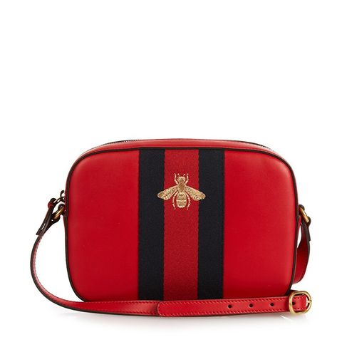 Line Bee-Embroidered Leather Cross-Body Bag