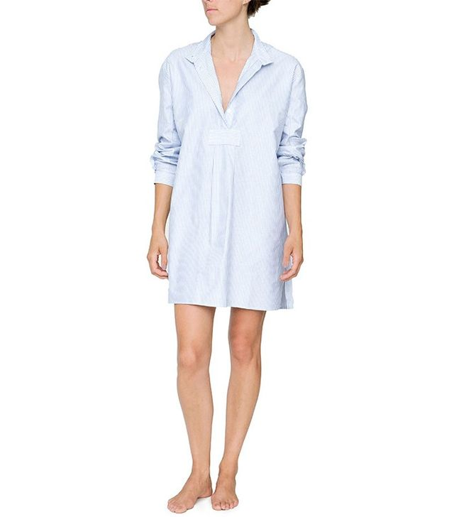 The Sleep Shirt Short Blue Oxford Stripe Sleep Shirt
