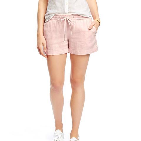 Mid-Rise Cuffed Linen-Blend Shorts