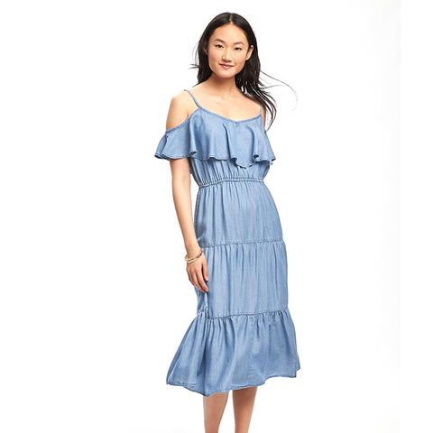 Ruffle Trim Tencel Dress