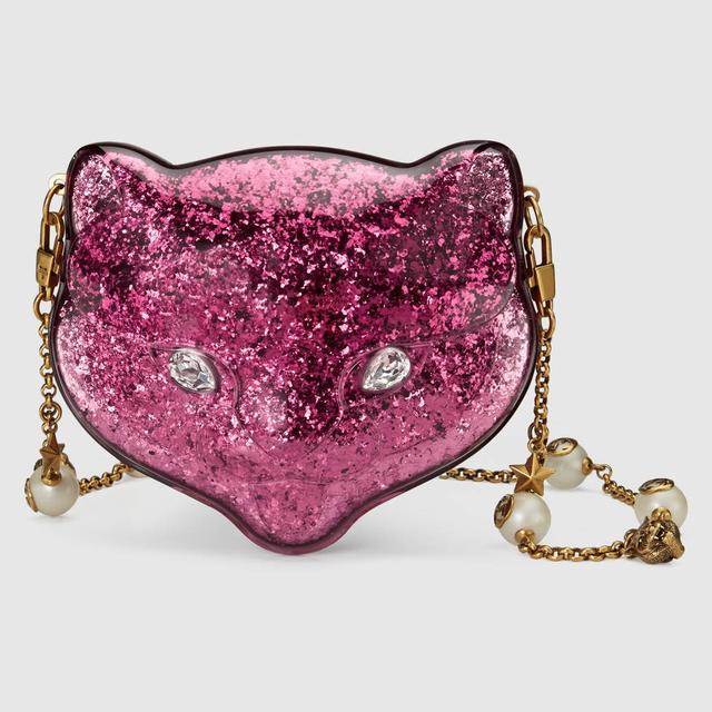 Gucci Glitter Plexiglass Cat Clutch